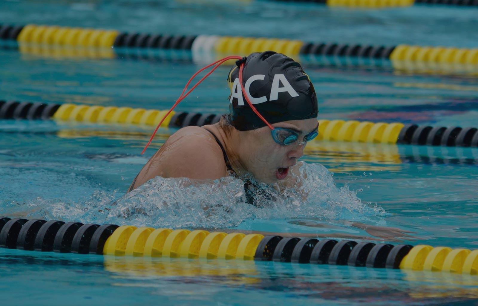 Swimmer in lap lane
