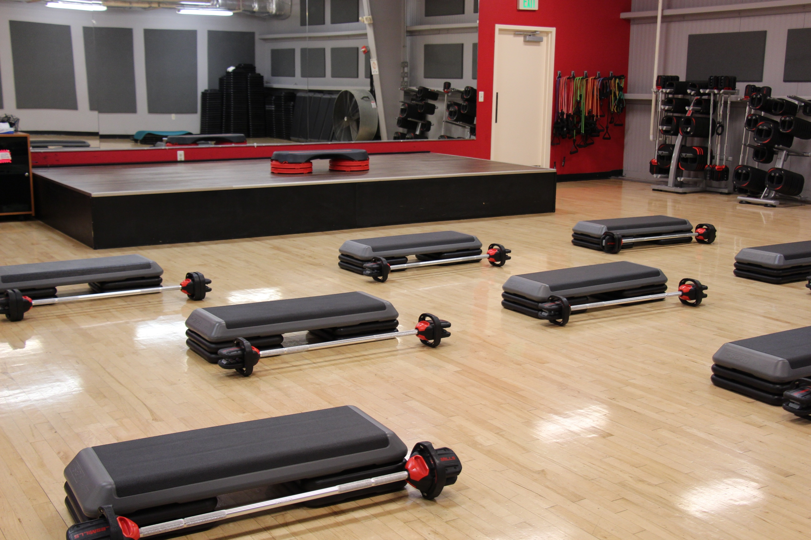 Cardio fitness classroom and equipment