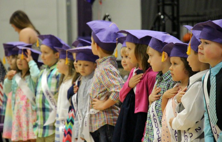 Kids in preschool ceremony